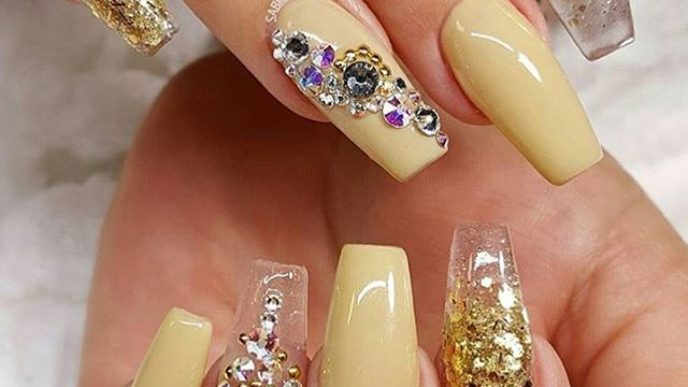 Glitter gold and yellow cute ballerina nail design bmodish.jpg