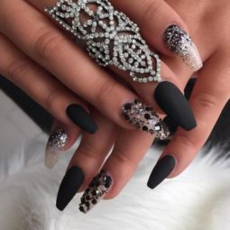 Matt black and glitter ballerina nails bmodish.jpg