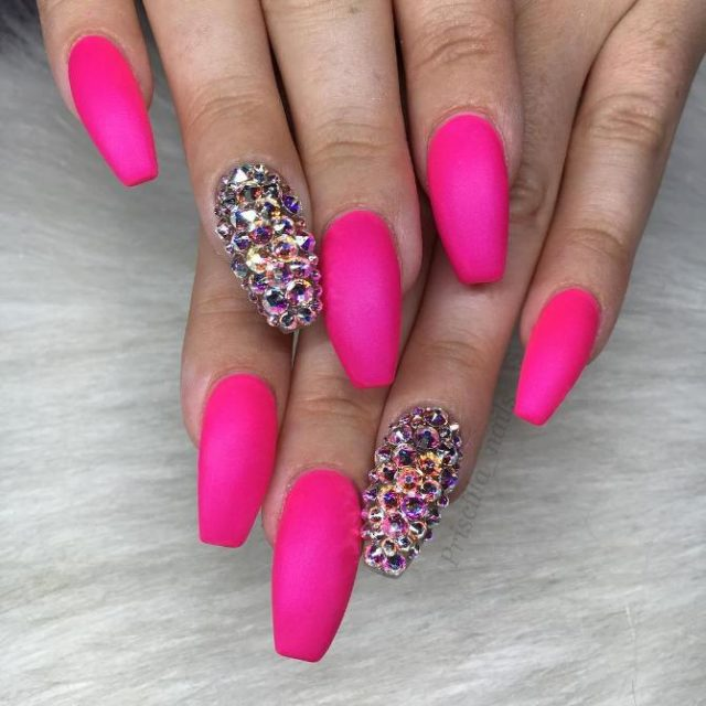Matte pink with swarowski crystal coffin nails bmodish.jpg