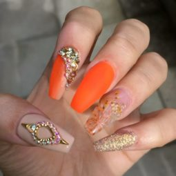 Orange embellished ballerina nails bmodish.jpg