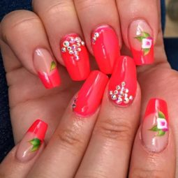 Red floral summer ballerina nails bmodish.jpg