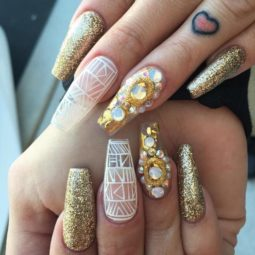 White and gold glitter ballerina nail art bmodish.jpg
