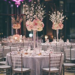 Ivory and pink tall wedding centerpiece.jpg