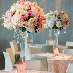 Pink roses and white hydrangea tall wedding centerpiece.jpg
