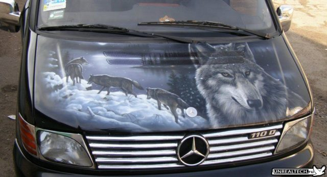 Car airbrushing painting hood images wolf vito.jpg