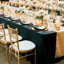 Gold and black modern wedding reception idea.jpg