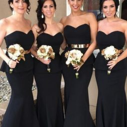 Strapless black mermaid long bridesmaid dress with gold sash.jpg