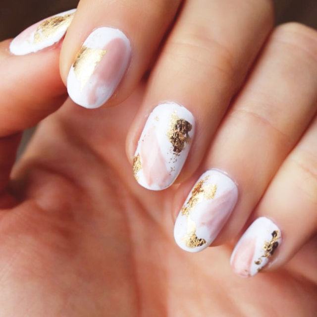 Gold foil gorgeous nails abstract pink white design.jpg