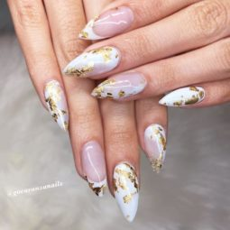 Gold foil gorgeous nails nude ombre almond french tips.jpg