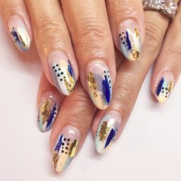 Gold foil gorgeous nails oval blue abstract design.jpg