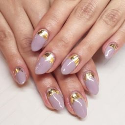 Gold foil gorgeous nails oval lavender base ruffian.jpg