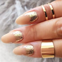 Gold foil gorgeous nails oval nude base ruffian.jpg