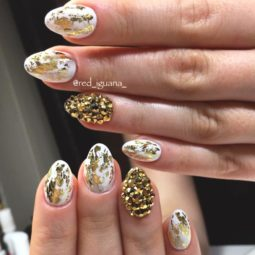 Gold foil gorgeous nails white base rhinestones accent.jpg