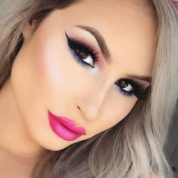 Pink lipstick makeup fair skin black eyeliner long lashes.jpg