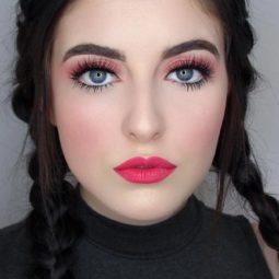 Pink lipstick makeup fair skin long lashes.jpg