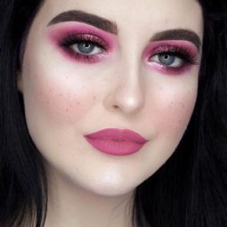 Pink lipstick makeup fair skin magenta smoky eyes.jpg
