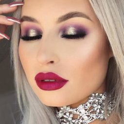 Pink lipstick makeup fair skin metallic smoky.jpg