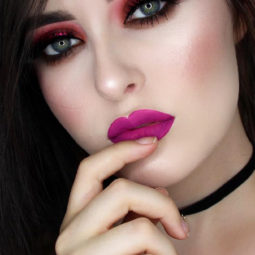 Pink lipstick makeup fair skin smoky eyes 1.jpg