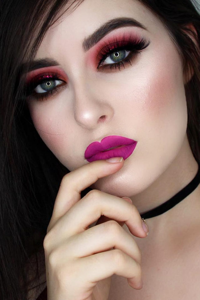 Pink lipstick makeup fair skin smoky eyes.jpg
