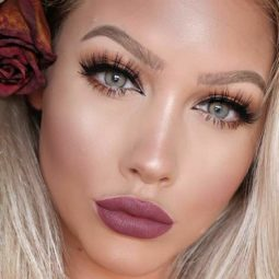 Pink lipstick makeup medium skin long lashes eyeliner.jpg