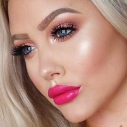 Pink lipstick makeup peach eyeshadow medium skin.jpg