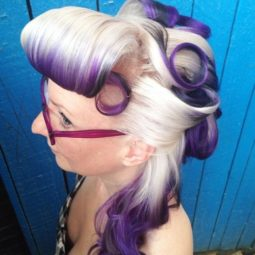 3 blonde and purple half up pin up hairstyle.jpg