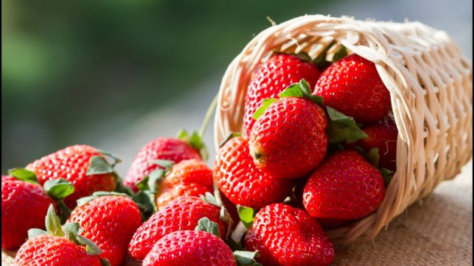 A small basket full of strawberries in natural background.jpg