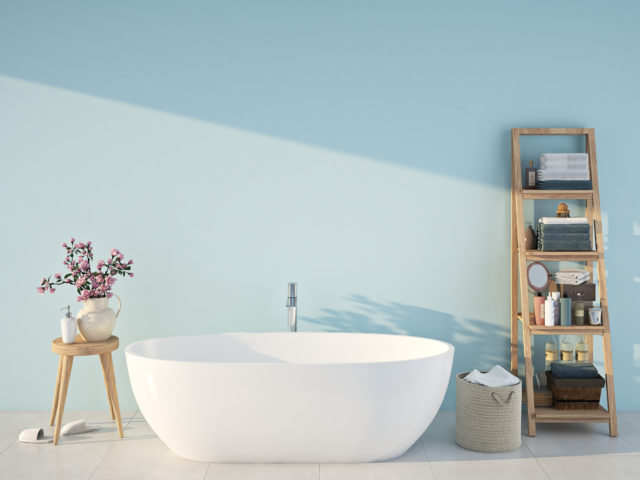 Blue spa bathroom. 3d rendering