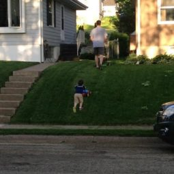 Like father like son mowing.jpg