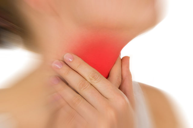 Sore throat, shown red, keep handed