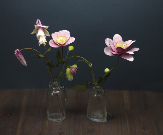 Tina kraus crepe paper objects anemones and aquilegia.jpg
