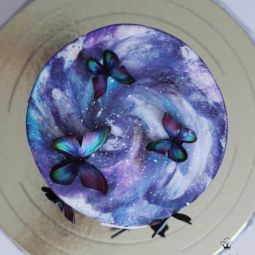 Blue purple butterflies cake art yulia kedyarova.png
