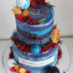Galaxies and planets cake art yulia kedyarova.png