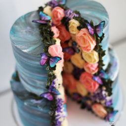 Two layers assorted flower garden cake art yulia kedyarova.png