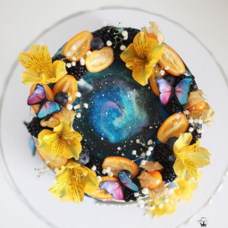 Yellow flowers and galaxies cake art yulia kedyarova.png