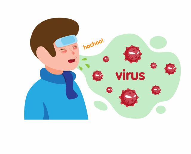 Boy sick flu and sneezing with virus in air symbol. cartoon flat illustration vector isolated in white background