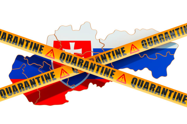 Quarantine in Slovakia concept. Slovak map with caution barrier tapes, 3D rendering isolated on white background