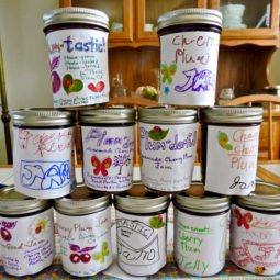 Kitchen labeled cherry plum jars in stack 1.jpg