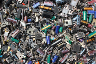Burnt electronic components as technology waste background