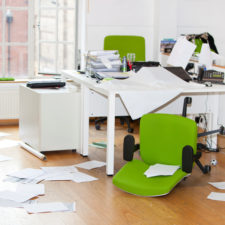 Close up view of ransacked office
