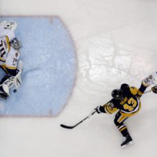 Juuse Saros, Conor Sheary, Mike Fisher
