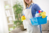 Maid hold house cleaning products