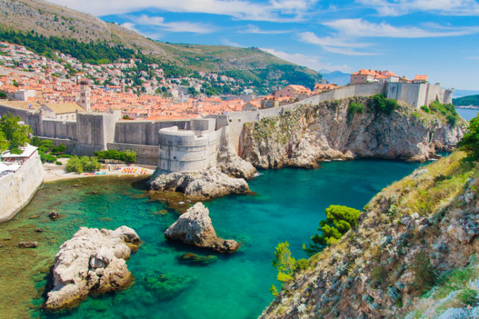 Dubrovnik scenic view on city walls, Croatia