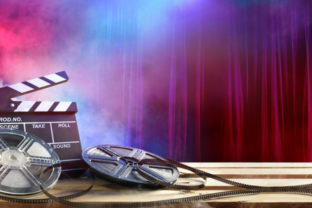 Film movie Background - Clapperboard And Film Reels In Theatre