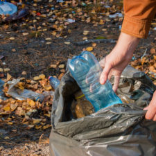Young woman collects garbage in the woods