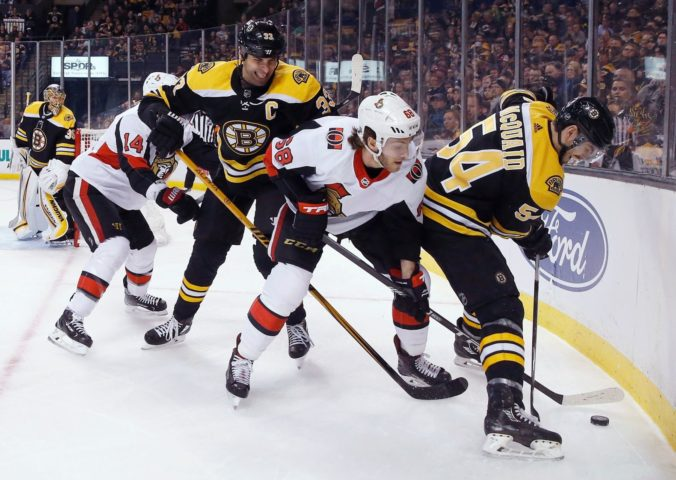 Mike Hoffman, Zdeno Chára, Adam McQuaid