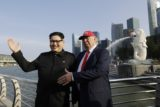 APTOPIX Singapore Trump Kim Impersonators