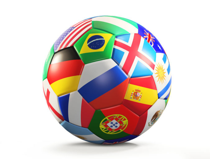 Soccer ball with flags design 3d rendering isolated