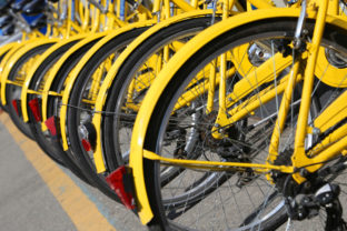 Bicycles in the store of the urban bike sharing
