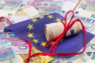Euro with red ribbon and flag of europe